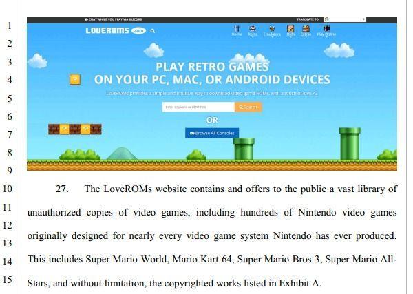 Nintendo demandó a dos compañías que ofrecían ROMs CDD Juegos